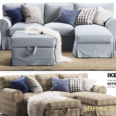 3-seat sofa EKTORP ikea With chaise longue