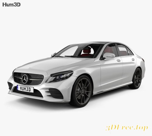 Mercedes-Benz C-Class AMG-line sedan with HQ interior 2018 3D model