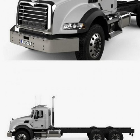 Mack Granite Chassis Truck 3axle 2002 3D Model