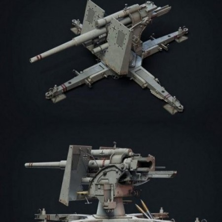 88 Flak Cannon Gameready model