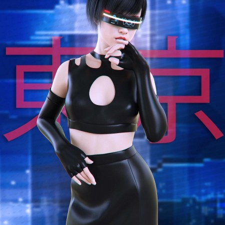 dForce Cyberpunk Outfit for Genesis 8 Female