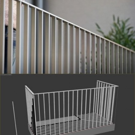 Basic Adjustable Railing for 3dsmax & RailClone