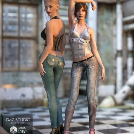 Skinny Jeans and Corset Outfit Textures