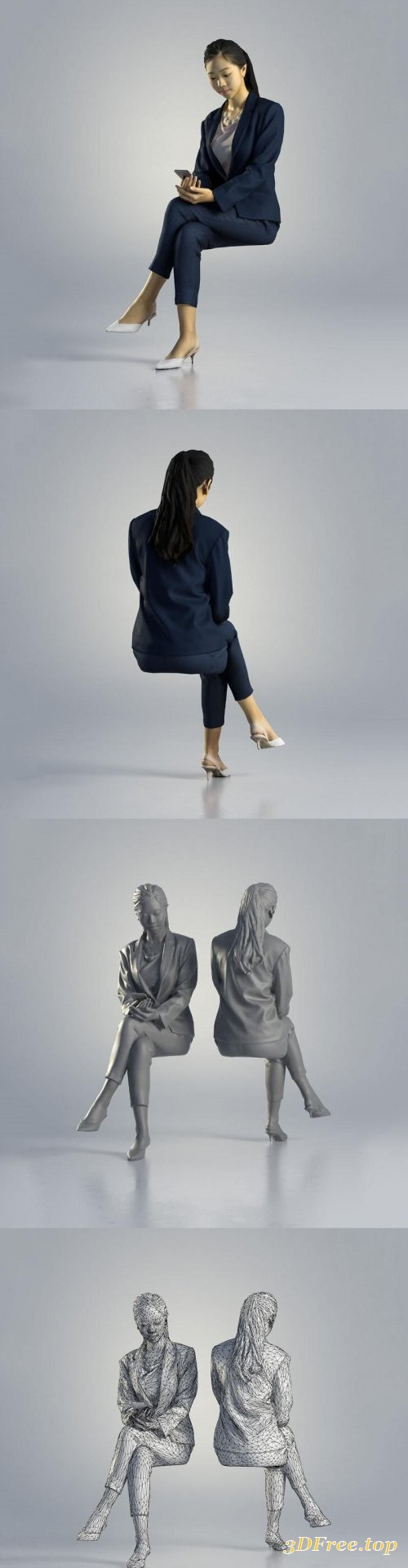 Business Woman Sitting 3d model