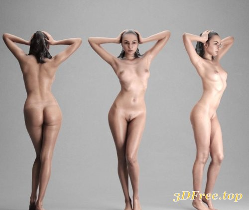 Naked Woman Standing Scanned 3D Model