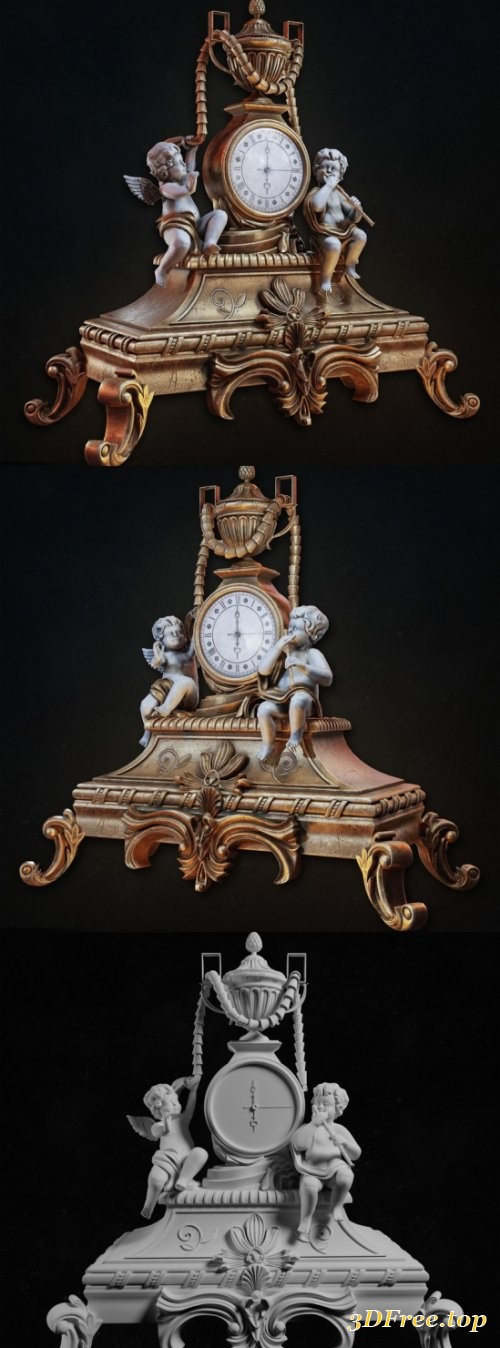 Old Baroque Table Clock