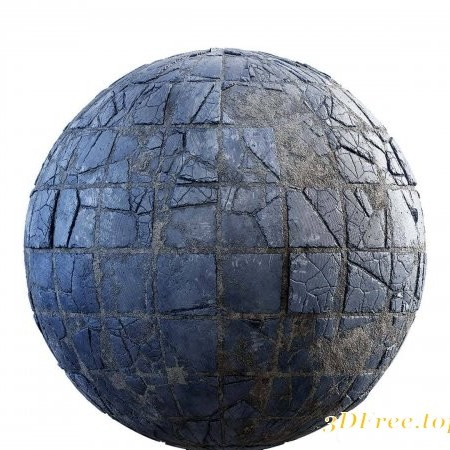 Damaged blue tiles PBR Textures