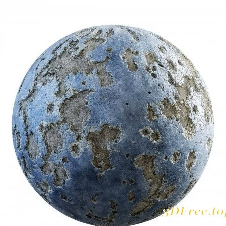 Damaged blue painted concrete PBR Textures