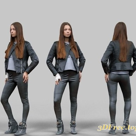 Leather outfit Girl 3D model