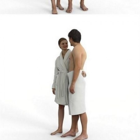 Young couple in spa Full Body scanned 3d model