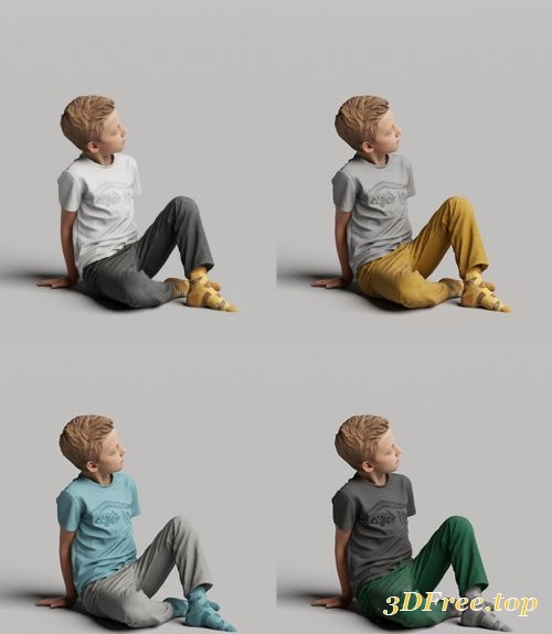 Humano Boy sitting and looking 0507 3D model