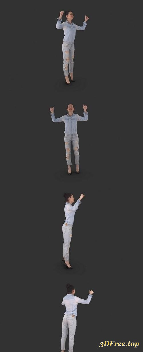Young Fan Woman Full Body scanned 3d model