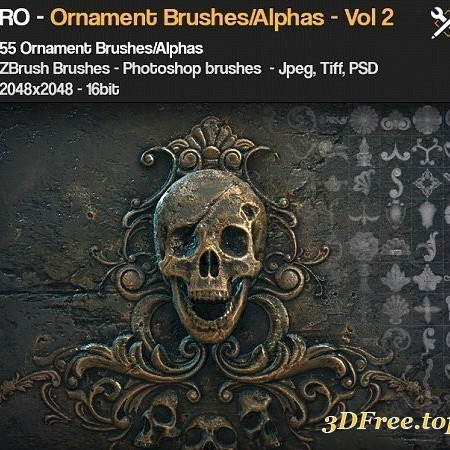Gumroad – ZBrush/SP – 55 Ornament Brushes + alpha/height maps – VOL. 2