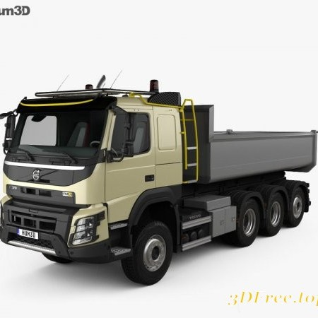 Volvo FMX Tridem Tipper Truck with HQ interior 2013 3D model