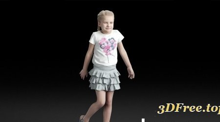 Humano Casual child girl in skirt standing and looking 0207 3D model