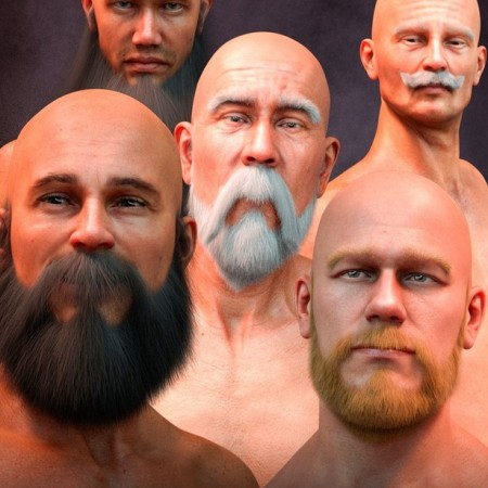 Long and Full Beards Set Hair for Genesis 8 Male