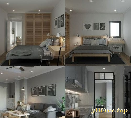 Full Modern Apartment 09 3D Interior Scene