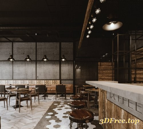 Coffee Shop Interior Scene 07