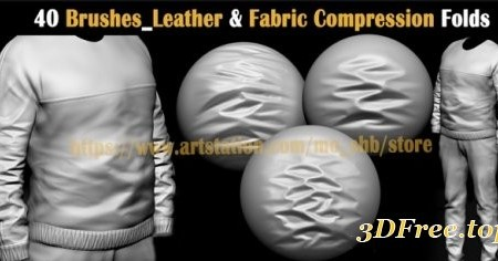 Artstation – 40 Brushes Leather & Fabric Compression Folds