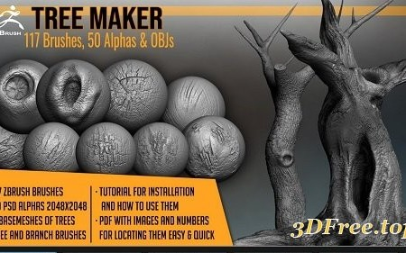 Tree Maker: 117 ZBrush Brushes, 50 Alphas and 8 Tree Basemeshes