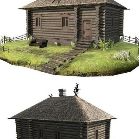 Wooden house with thatched 3d Model