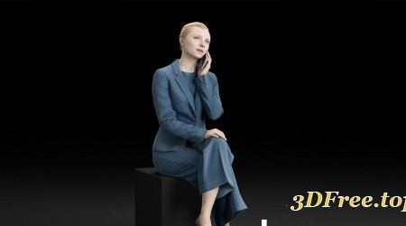 Humano Elegant business woman sitting talking on the phone 0120 3D model