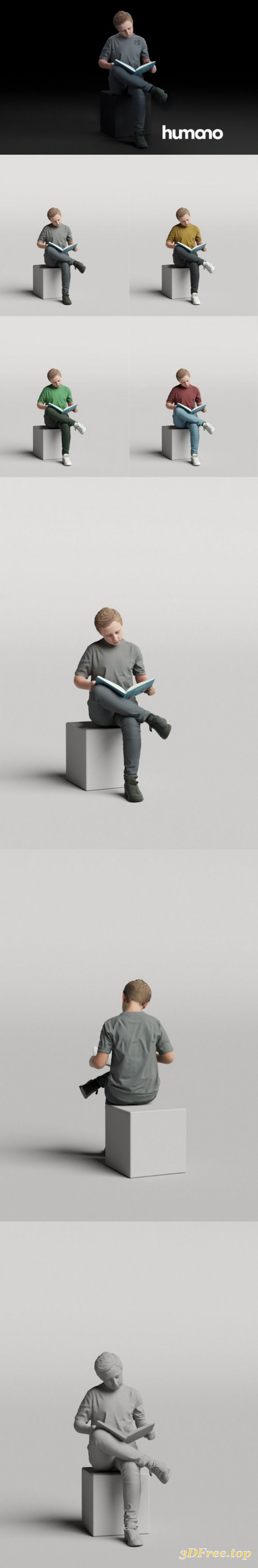 Humano Boy sitting and reading a book 0511 3D model
