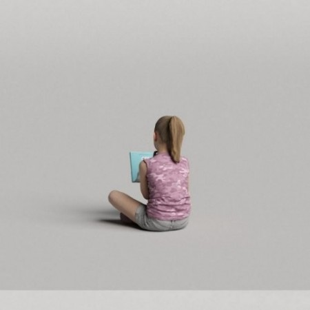 Humano Girl Sitting and reading a book 0509 3D model