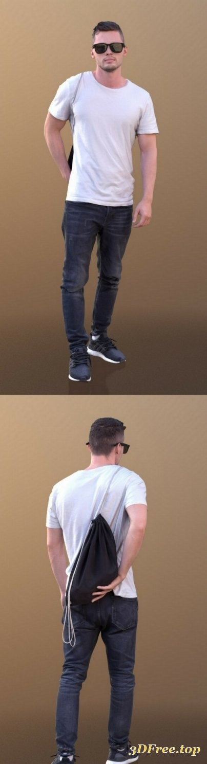 Rick 10497 – Walking Casual Guy Low-poly 3D model