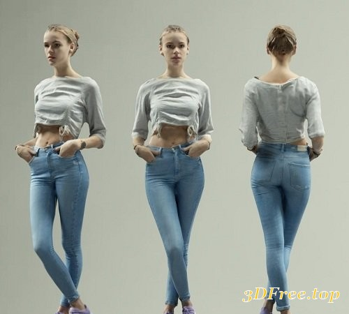 Sporty Girl Posing in Blue Jeans and Casual Shirt Scanned 3D Model