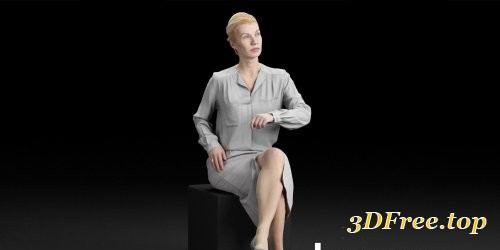 Humano Elegant business woman in skirt sitting and looking 0113 3D model