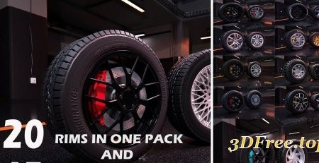 Sport modern car wheels VR / AR / low-poly 3d model
