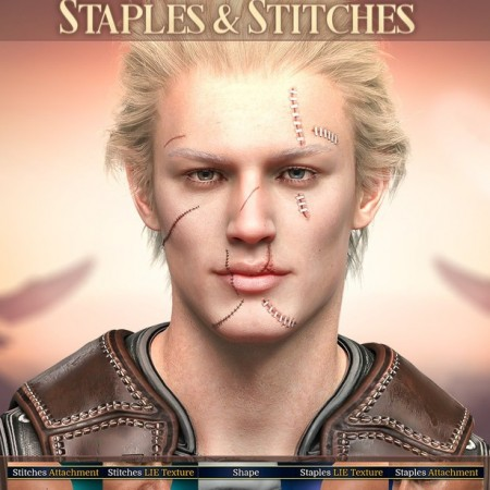 HD Face Staples and Stitches for Genesis 8 Males