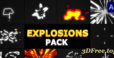 Videohive Cartoon Explosions Pack | After Effects 31259681