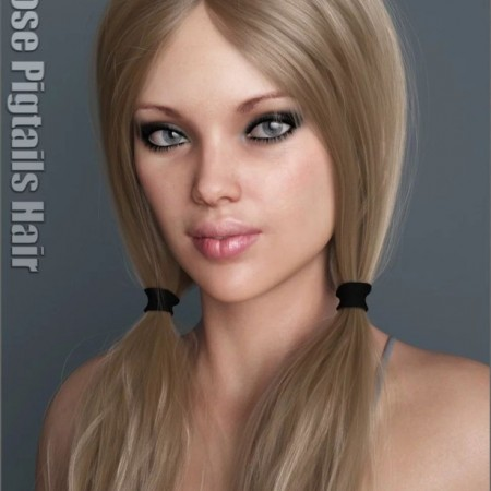 Loose Pigtails Hair for Genesis 3 and 8 Female(s)