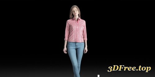 Humano Casual woman standing and looking 0203 3D model