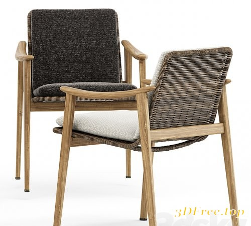 Fynn Outdoor chair by Minotti and Ren Dining table C1100 by Stellarworks