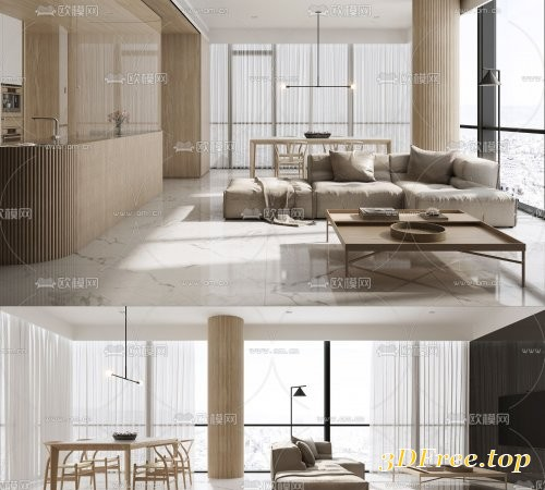 Modern minimalist living room dining room 3d model 892740