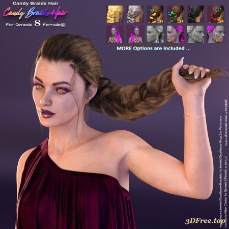 Candy Braids Hair for Genesis 8 Female(s)